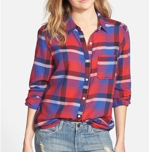 BP red and blue plaid button up